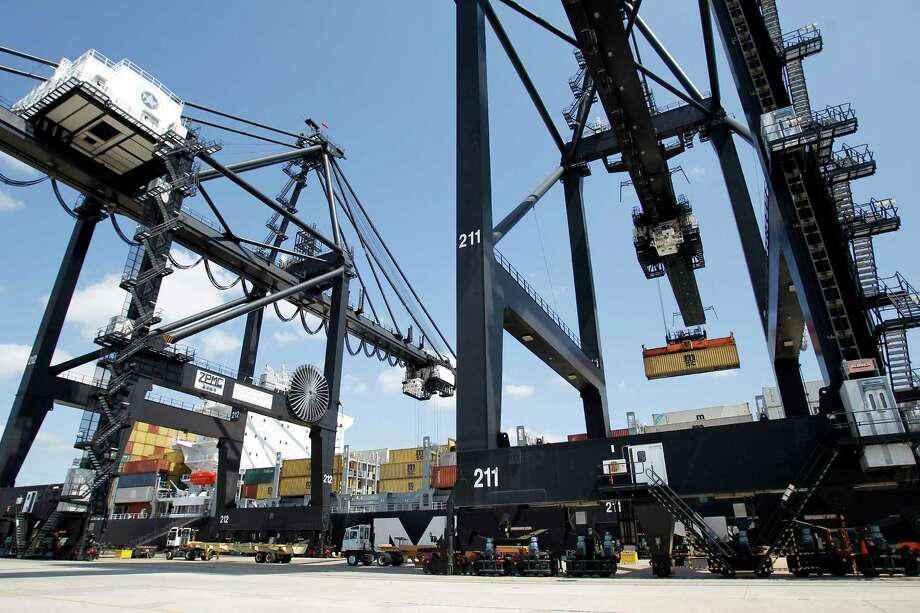 Through 2016, the port's projected spending at the Bayport Container Terminal is $372.8 million - to develop two wharves, add cranes and develop the yard. The total at the port's Barbours Cut Terminal is $365.8 million. Photo: Karen Warren / © 2012  Houston Chronicle