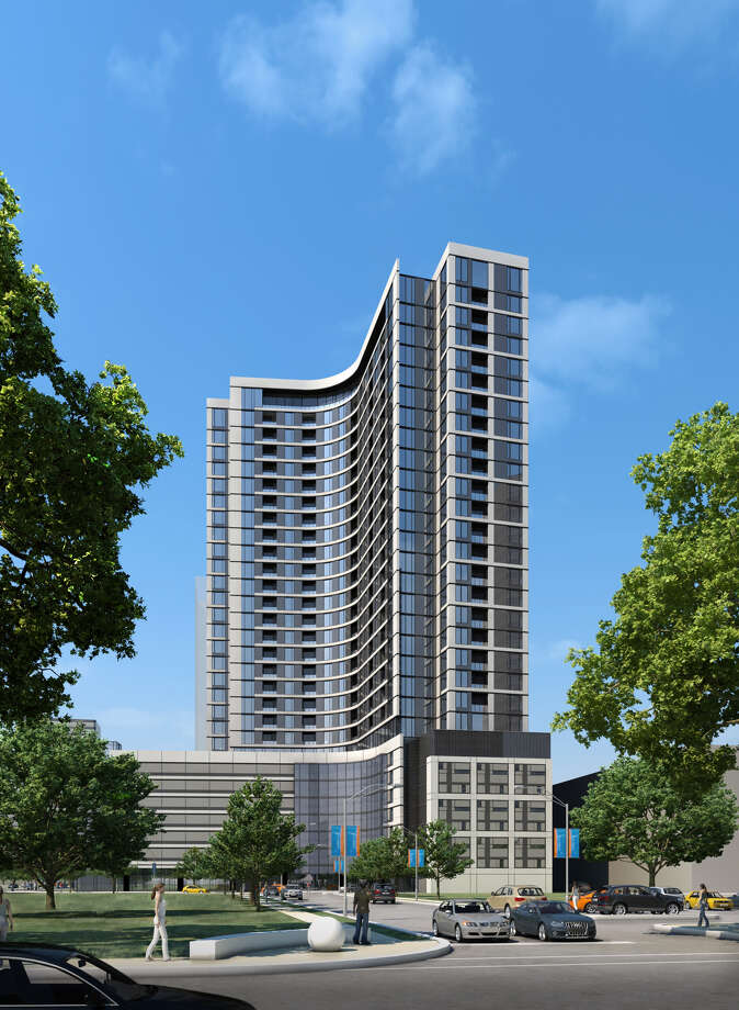 A rendering of Hanover Co.'s proposed residential tower at BLVD Place, at San Felipe and Post Oak Blvd. Plans now call for 29 stories.