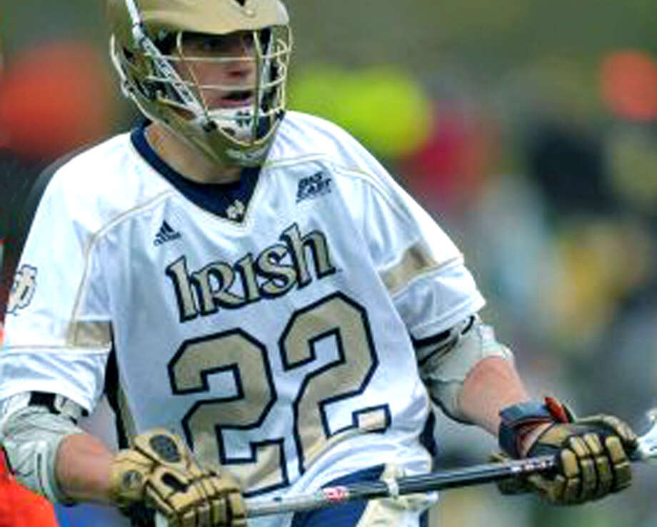 Devon Dobson of New Milford plays lacrosse for the University of Notre Dame in South Bend, In., 2012  Courtesy of the University of Notre Dame Photo: Contributed Photo