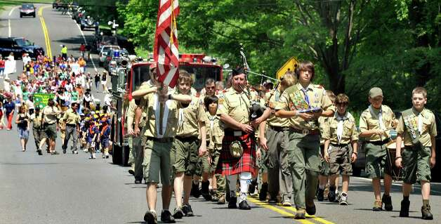 Boy Scouts Troop 15 color guard leads the Redding Memorial Day Parade Saturday, May 26, 2012. Photo: Michael Duffy / The News-Times