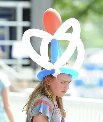 Ballonhead Leah Caputo, 9, of Greenwich during the Greenwich Town Party at Roger Sherman Baldwin Park, Saturday, May 26, 2012. Photo: Bob Luckey / Greenwich Time