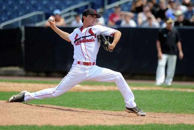 Greenwich's Dylan Callahan pitches during Saturday's FCIAC baseball championship game at the Ballpark at Harbor Yard in Bridgeport on May 26, 2012. Photo: Lindsay Niegelberg / Stamford Advocate