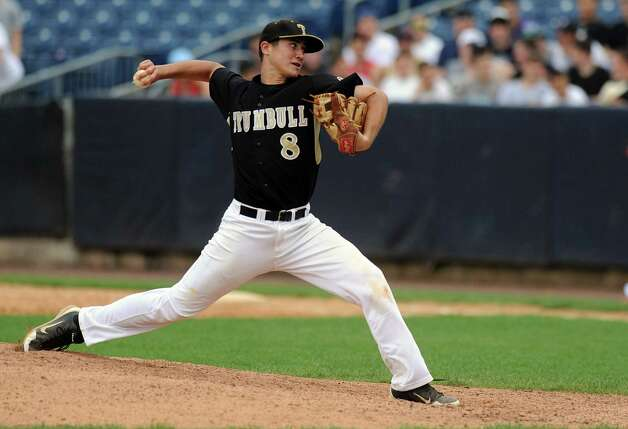 Trumbull's Colin Keyes pitches during Saturday's FCIAC baseball championship game at the Ballpark at Harbor Yard in Bridgeport on May 26, 2012. Photo: Lindsay Niegelberg / Stamford Advocate