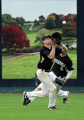 Trumbull's Joey Forren makes a catch during Saturday's FCIAC baseball championship game at the Ballpark at Harbor Yard in Bridgeport on May 26, 2012. Photo: Lindsay Niegelberg / Stamford Advocate
