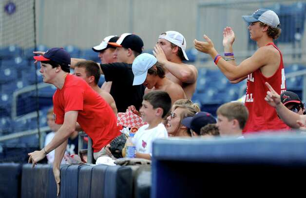 Greenwich fans cheer for their team during Saturday's FCIAC baseball championship game at the Ballpark at Harbor Yard in Bridgeport on May 26, 2012. Photo: Lindsay Niegelberg / Stamford Advocate