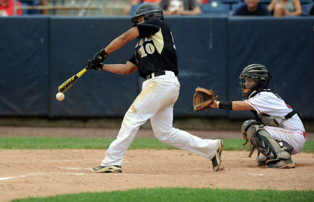 Trumbull's Casey Mack swings during Saturday's FCIAC baseball championship game at the Ballpark at Harbor Yard in Bridgeport on May 26, 2012. Photo: Lindsay Niegelberg / Stamford Advocate