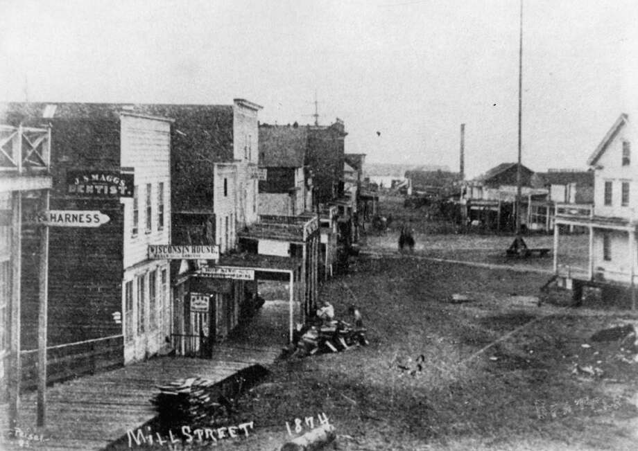 This photo, which shows Yesler's Mill in the background, was taken in 1874. Photo: Seattlepi.,com File
