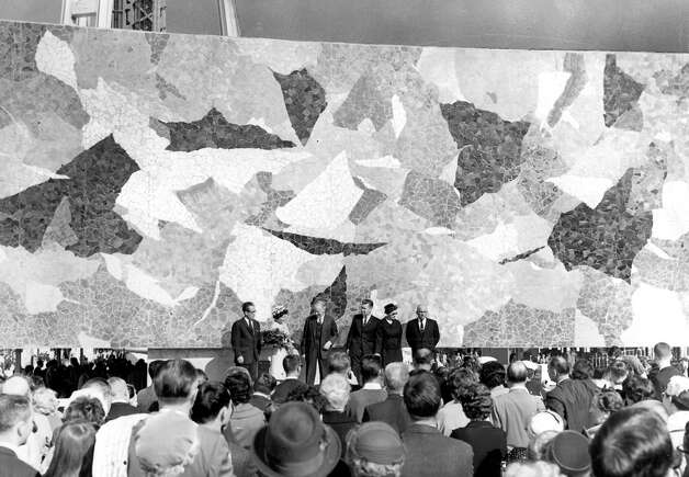 The mural was unveiled April 21, 1962. Artist Paul Horiuchi is among those on stage. Photo: Seattlepi.com File