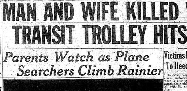 What was this headline published about a man and woman killed in a Wallingford trolley accident at North 40th Street and Densmore Avenue North? Photo: Seattlepi.,com File