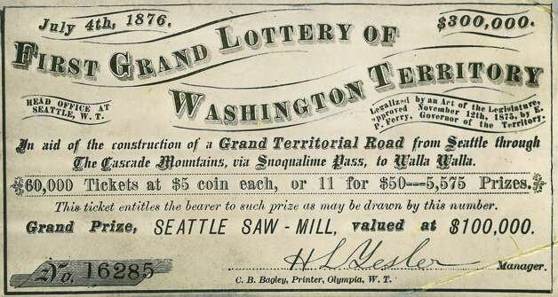 A Washington Territory lottery was planned for July 4, 1876. Organizer and mill owner Henry Yesler canceled the drawing and kept about 90 percent of the estimated $30,000 collected. He was fined $25. Photo: Seattlepi.com File