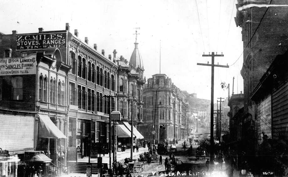 According to P-I notes with the image, it was taken the day before the Great Seattle Fire in summer 1889. The view of Yesler is shown from what's now Alaskan Way. Photo: Seattlepi.com File