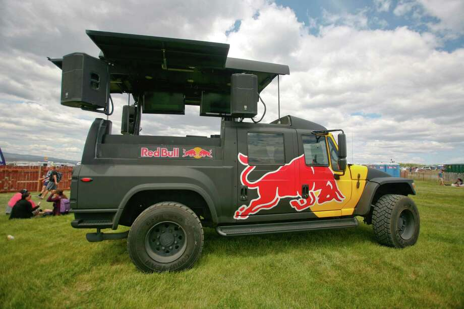 A Red Bull truck blasts music while playing a video on television screens. Photo: SOFIA JARAMILLO / SEATTLEPI.COM