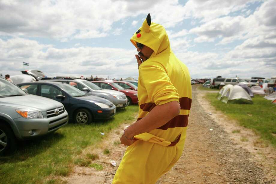 Alex Morrison shows off his Pikachu costume in the campground. Photo: SOFIA JARAMILLO / SEATTLEPI.COM