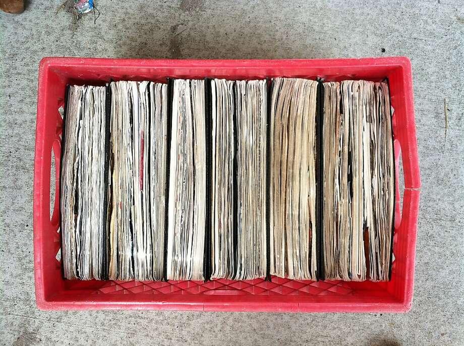 """Crate holding some of my older journals 2003-2005."" Photo: Matt Mallams"