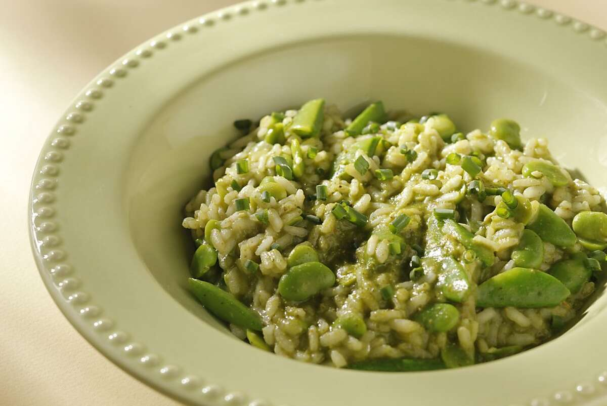 Spring Garden Risotto as seen in San Francisco, California on Wednesday, May 9, 2012. Food styled by Lynne Bennett.