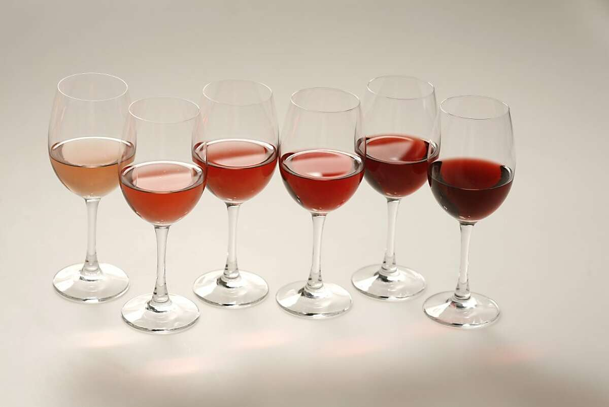 Different shades Rose wine.