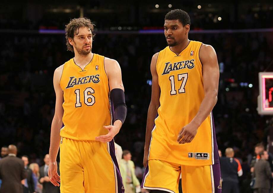 LOS ANGELES, CA - MAY 19:  Pau Gasol #16 and Andrew Bynum #17 of the Los Angeles Lakers react after losing 103-100 to the Oklahoma City Thunder in Game Four of the Western Conference Semifinals in the 2012 NBA Playoffs on May 19 at Staples Center in Los Angeles, California. NOTE TO USER: User expressly acknowledges and agrees that, by downloading and or using this photograph, User is consenting to the terms and conditions of the Getty Images License Agreement.  (Photo by Stephen Dunn/Getty Images) Photo: Stephen Dunn, Getty Images