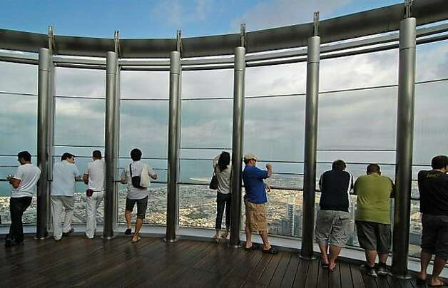 Viewers to Burj Khalifa tower take the world's fastest elevator to the 124th floor viewing platform. Photo: Bill Fink