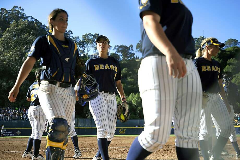Cal's Frani Echavarria #1(center).  The Cal softball team played Arkansas in NCAA regional matchup in Berkeley, CA on Sunday May 20th 2012 Photo: Michael Short