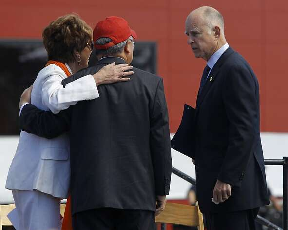 Rep. Nancy Pelosi and Mayor Ed Lee chat with Gov. Jerry Brown before a dedication ceremony for the new Golden Gate Bridge Pavilion in San Francisco, Calif. on Friday, May 25, 2012. The event kicked off a weekend of events to celebrate the iconic bridge's 75th anniversary. Photo: Paul Chinn, The Chronicle