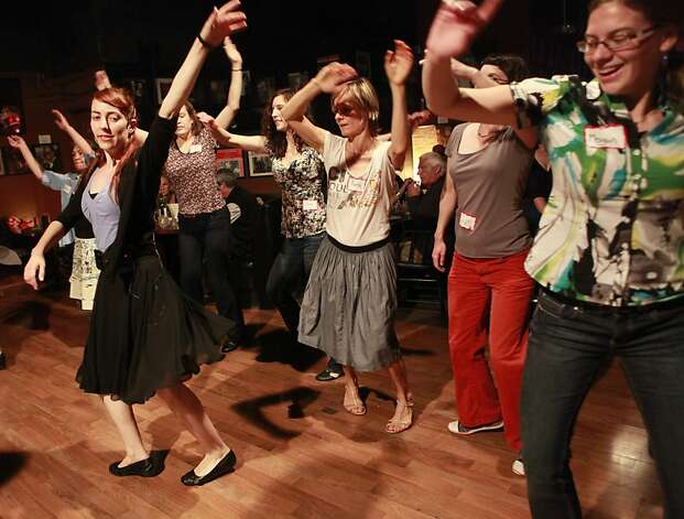 Swing/Lindi hop class taught by Miriam Grill at the Savanna Jazz Club on Wednesday, May 23rd, 2012 in  San Francisco, Calif. Photo: Jill Schneider, The Chronicle