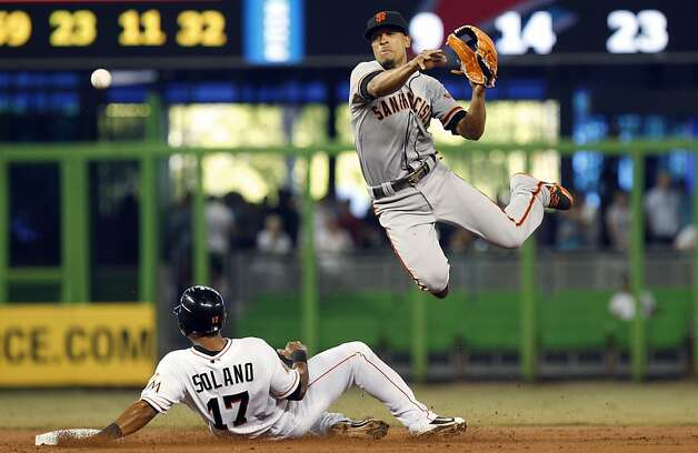 Miami Marlins' Donovan Solano (17) is out at second as San Francisco Giants second baseman Emmanuel Burriss throws to first, where Chris Coghlan was safe in the second inning of a baseball game in Miami, Saturday, May 26, 2012. (AP Photo/Lynne Sladky) Photo: Lynne Sladky, Associated Press