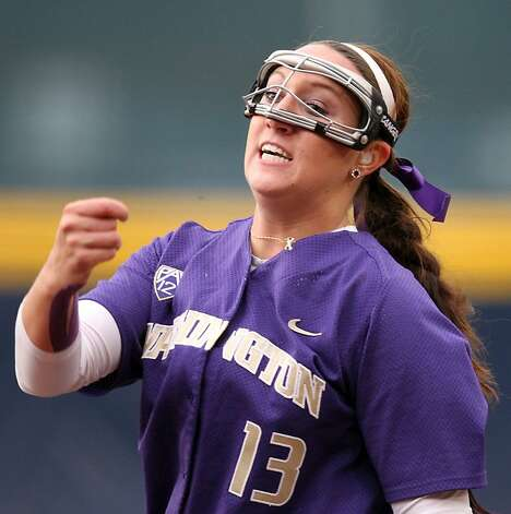 Washington Huskies starting pitcher Kaitlin Inglesby throws to the University of California in the first inning of their NCAA Super Regional game Saturday, May 26, 2012 in Berkeley Calif. Photo: Lance Iversen, The Chronicle