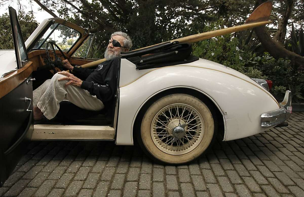 Surf industry pioneer, Jack O'Neill, sits in his 1953 Jaguar XK 140, at his cliff-side home in Santa Cruz, Ca. on Thursday April 26, 2012. 89-year-old, Jack O'Neill a surf industry pioneer, who invented the wet suit, is celebrating 60 years since he opened the world's first surf shop, in San Francisco in 1952.