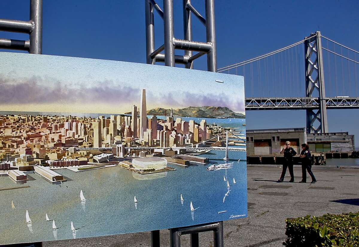 An artist rendering of the new arena, as San Francisco Mayor Ed Lee and Golden State Warriors basketball team executives officially announced plans, on Tuesday May 22, 2012, in San Francisco,Ca., to build a new arena on Piers 30 and 32 in time for the start of the 2017-2018 NBA season.
