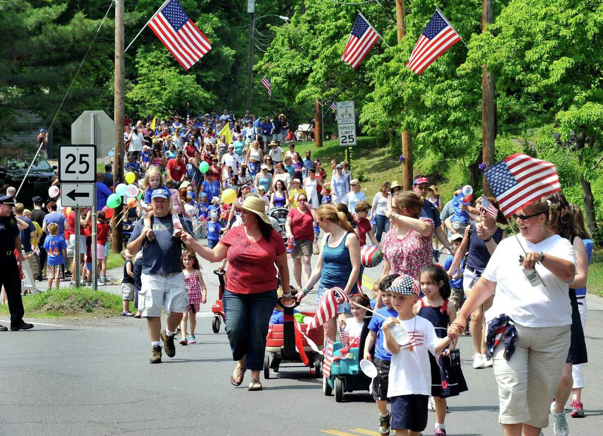 The Brookfield Memorial Day Parade approaches Williams Park where the Memorial Ceremony had just concluded Sunday, May 27, 2012.
