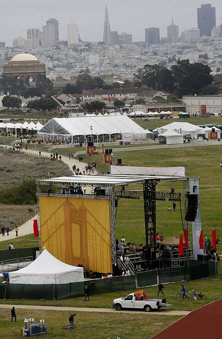 A view looking down on Crissy Field from Lincoln Blvd. at the stages for the celebration. The Golden Gate Bridge celebrated its 75th anniversary with tours, displays, and music, ending with a fireworks display in San Francisco, Calif. Sunday May 27, 2012. Photo: Brant Ward, The Chronicle