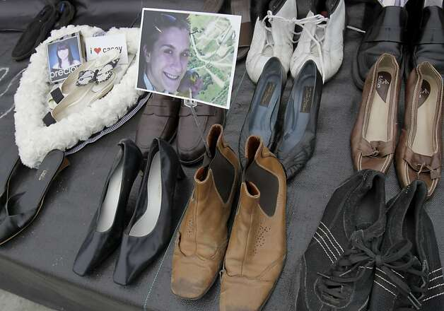 "A display called ""Whose Shoes"" calls attention to the over 1500 people who have jumped from the Golden Gate Bridge. The Golden Gate Bridge celebrated its 75th anniversary with tours, displays, and music, ending with a fireworks display in San Francisco, Calif. Sunday May 27, 2012. Photo: Brant Ward, The Chronicle"