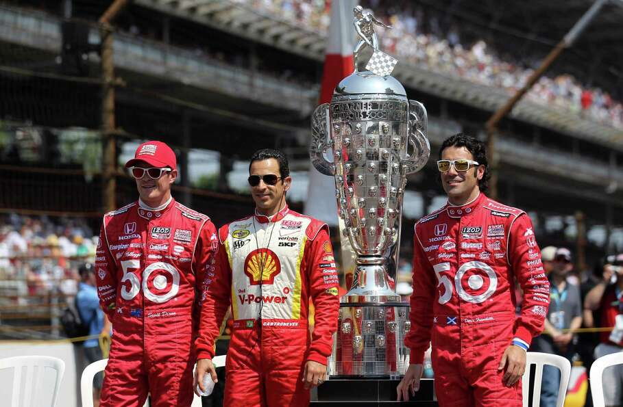 INDIANAPOLIS, IN - MAY 27:  (L-R) Former Indy 500 winner's Scott Dixon of New Zealand, driver of the