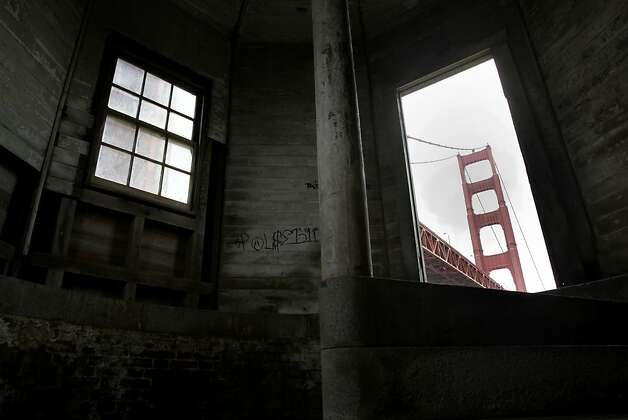 The Golden Gate Bridge first glimpse as one climbs the stairs to the top of Fort Point. The Golden Gate Bridge celebrated its 75th anniversary with tours, displays, and music, ending with a fireworks display in San Francisco, Calif. Sunday May 27, 2012. Photo: Brant Ward, The Chronicle