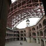 At Fort Point, visitors stood in a giant rotunda with the famous Golden Gate arch overhead and the lighthouse. The Golden Gate Bridge celebrated its 75th anniversary with tours, displays, and music, ending with a fireworks display in San Francisco, Calif. Sunday May 27, 2012.