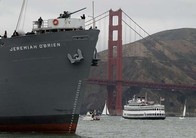 The Jeremiah O'Brien and California Hornblower sail near the Golden Gate Bridge for the 75th anniversary celebration for the iconic span in San Francisco, Calif. on Sunday, May 27, 2012. Photo: Paul Chinn, The Chronicle