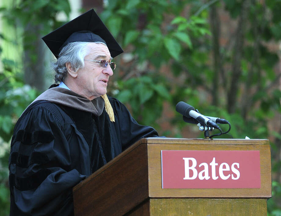Actor Robert De Niro delivers his commencement speech Sunday morning at Bates College in Lewiston, Maine, Sunday, May 27, 2012. Photo: AP