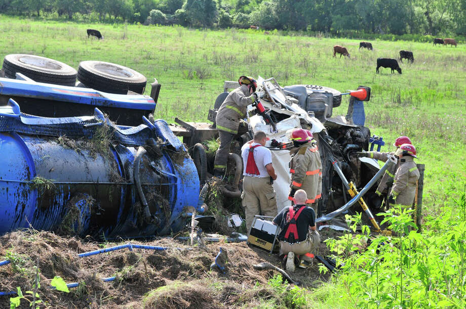 The driver of a tanker truck was killed in a one-vehicle accident near Campbellton on Highway 281 Sunday about 8:30 a.m. The driver was going east on Highway 791 towards Highway 281.  Campbellton and Pleasanton Volunteer Fire Department responded to the crash. Campbellton is about 15 miles south of Pleasanton. Photo: Xavier J. Garcia, For The San Antonio Express-News / For the San Antonio Express-News