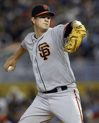 San Francisco Giants starting pitcher Matt Cain throws in the first inning during a baseball game against the Miami Marlins in Miami, Sunday, May 27, 2012. (AP Photo/Lynne Sladky) Photo: Lynne Sladky, Associated Press