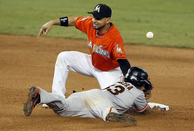 San Francisco Giants' Melky Cabrera (53) is safe stealing second as the ball goes past Miami Marlins second baseman Omar Infante, left, in the eighth inning during a baseball game in Miami, Sunday, May 27, 2012. Cabrera went on to steal third on a throwing error by Marlins catcher John Buck. The Giants won 3-2. (AP Photo/Lynne Sladky) Photo: Lynne Sladky, Associated Press