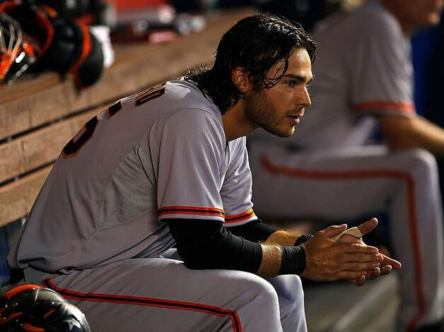 MIAMI, FL - MAY 27: Brandon Crawford #35 of the San Francisco Giants looks on during a game against the Miami Marlins at Marlins Park on May 27, 2012 in Miami, Florida.  (Photo by Mike Ehrmann/Getty Images) Photo: Mike Ehrmann, Getty Images