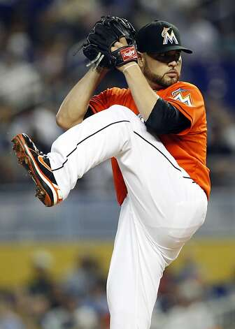 Miami Marlins starting pitcher Ricky Nolasco throws in the first inning during a baseball game against the San Francisco Giants in Miami, Sunday, May 27, 2012. (AP Photo/Lynne Sladky) Photo: Lynne Sladky, Associated Press