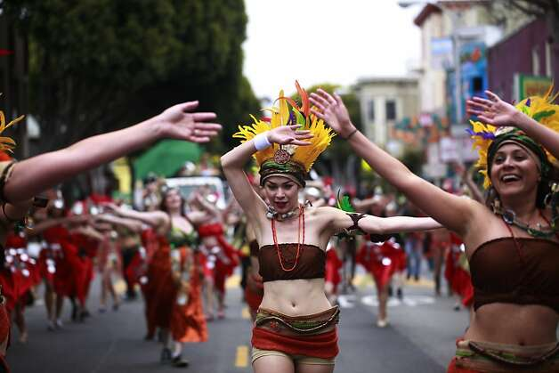 Natalie Ramirez moves down 24th Street during the 34th annual Carnaval parade on Sunday May 27, 2012 in San Francisco, Calif. Photo: Mike Kepka, The Chronicle