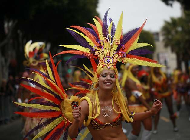 Audrey Schaps with the dance contingent Samba Funk makes her way down 24th street during the 34th annual Carnaval parade on Sunday May 27, 2012 in San Francisco, Calif. Photo: Mike Kepka, The Chronicle