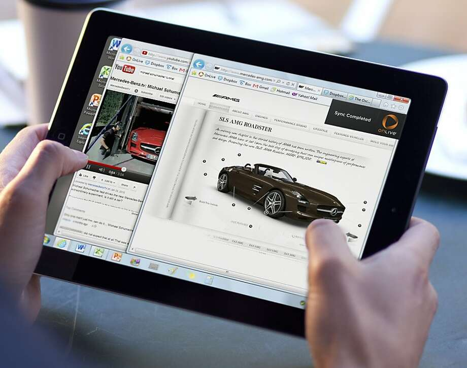 An undated photo provided by OnLive shows the OnLive Desktop on an iPad 2. The OnLive Desktop app gives you access to Microsoft programs including Word, Excel and PowerPoint, as well as Adobe Reader and a few other programs. You don't have to already own these programs, but you can't add other programs to the desktop _ it is not saved after each use. Instead, you can upload any file you work on to access it later.  (AP Photo/OnLive) Photo: Associated Press