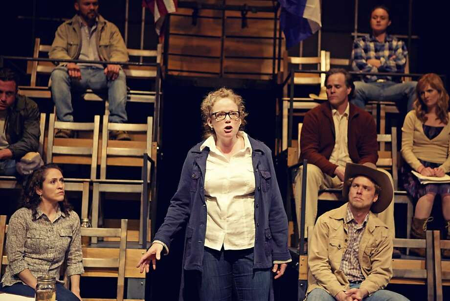"Dr. Stockman (Heather Robison) addresses the town council meeting in Shotgun Players' world premiere of Adam Chanzit's ""The Great Divide."" Photo: Pak Han"