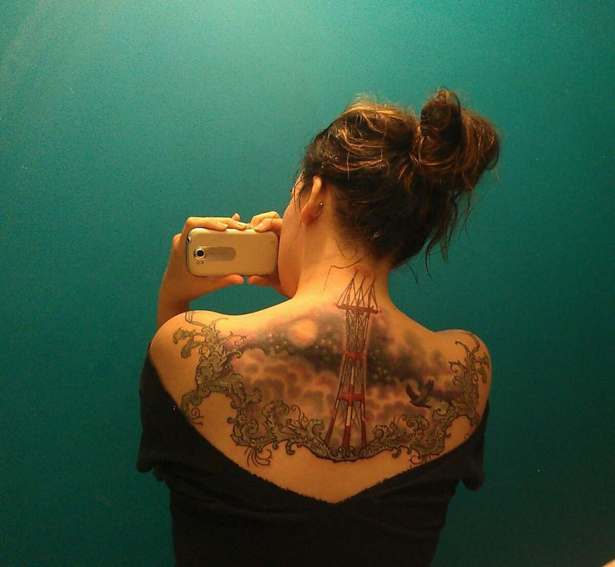 Elly Jonez of San Francisco is one of several young locals with Sutro Tower tattooed on her body. The tattoos have been chronicled on the blog Uptown Almanac.