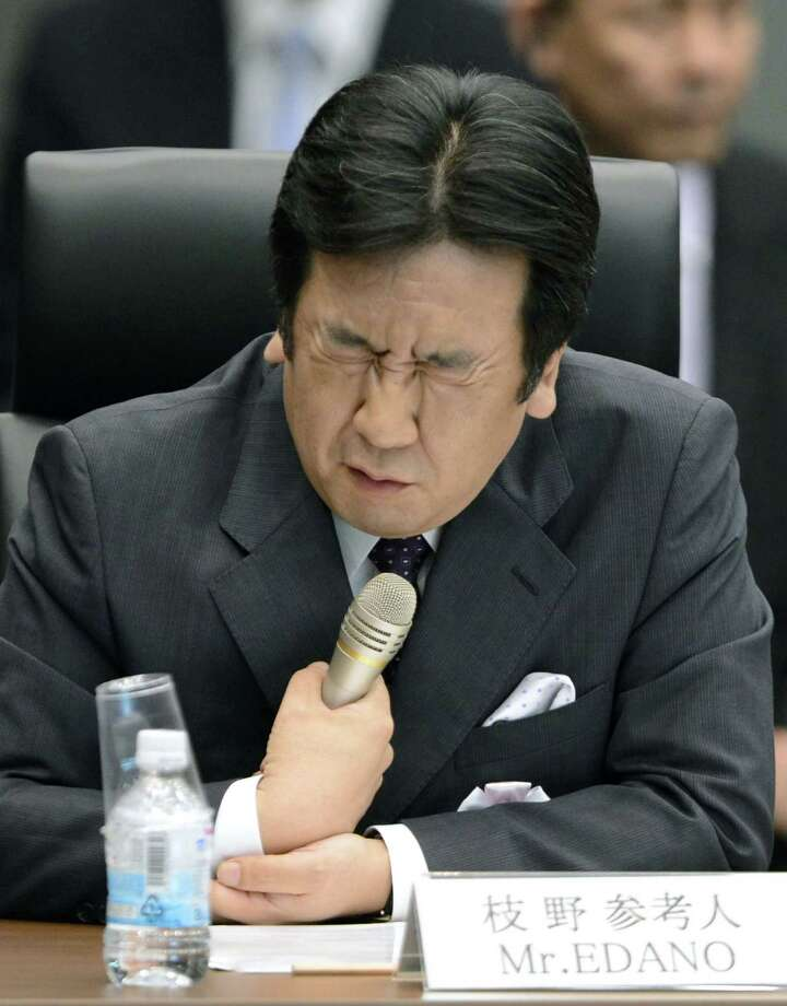 Japanese Trade and Industry Minister Yukio Edano reacts during an inquiry by the parliament-appointed nuclear accident probe panel Sunday, May 27, 2012 in Tokyo. Edano said the government failed to accurately grasp the extent of damage from the nuclear crisis at the Fukushima Dai-ichi power plant and might have misinformed the public about its consequences. (AP Photo/Kyodo News) JAPAN OUT, MANDATORY CREDIT, NO LICENSING IN CHINA, HONG KONG, JAPAN, SOUTH KOREA AND FRANCE / Kyodo News