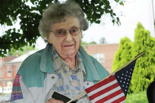Irene Martin, a U.S. Marine Corps veteran of World War II at Byram Veterans Association's Memorial Day Parade Sunday, May 27, 2012. Photo: Helen Neafsey / Greenwich Time