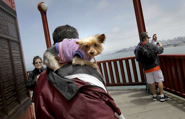 The Turner family from San Mateo, Calif. brought their pup Persimmon for a walk on the bridge to celebrate the anniversary. The Golden Gate Bridge celebrated its 75th anniversary with tours, displays, and music, ending with a fireworks display in San Francisco, Calif. Sunday May 27, 2012. Photo: Brant Ward, The Chronicle